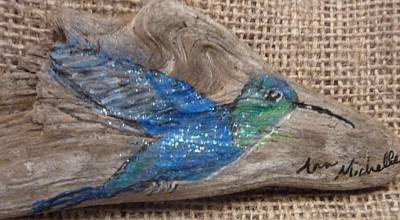 Mixed Media - Blue Hummingbird by Ann Michelle Swadener