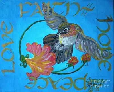 Faith Hope And Love Painting - Blue Hummingbird Faith, Hope, Peace, Love by Teresa Marie Staal Cowley