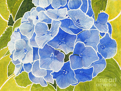 Blue Hydrangea Stained Glass Look Art Print