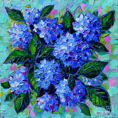Shadows Painting - Blue Hydrangeas - Abstract Floral Composition by Mona Edulesco
