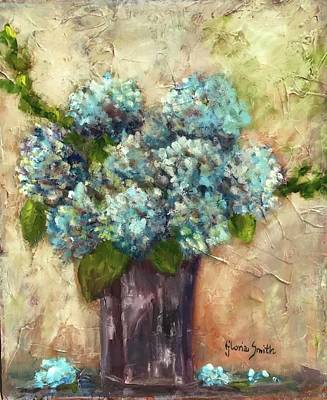 Painting - Blue Hydrangeas by Gloria Smith