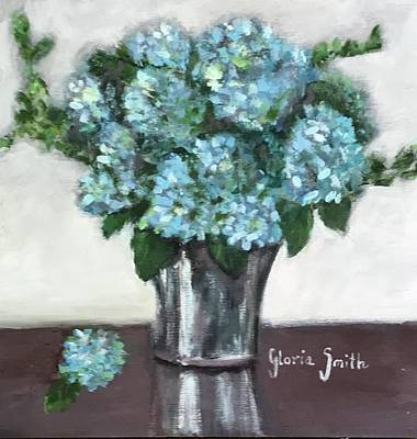 Painting - Blue Hydrangea's In Silver Vase by Gloria Smith