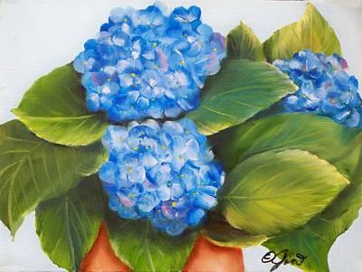 Painting - Blue Hydrangeas by Joni McPherson