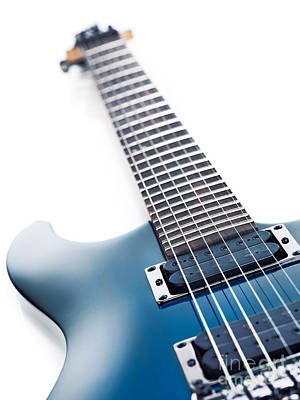 Blue Ibanez Electric Guitar Closeup Isolated On White Art Print