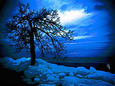 Fli Digital Art - Blue Ice Island by  Fli Art