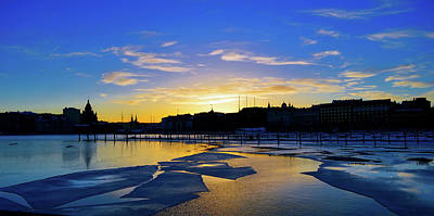 Blue Ice Sunset Print by Indineo