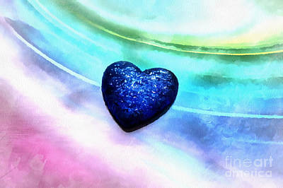 Abstract Hearts Photograph - Blue In Love by Krissy Katsimbras