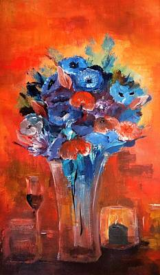 Wine Painting - Blue In The Warmth Of Candlelight by Lisa Kaiser