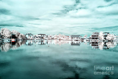 Photograph - Blue Infrared Beach Houses On The Water At Lbi by John Rizzuto