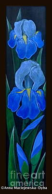Folkartanna Painting - Blue Iris by Anna Folkartanna Maciejewska-Dyba
