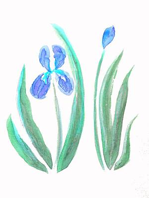 Blue Iris Impression  Art Print by Delynn Addams