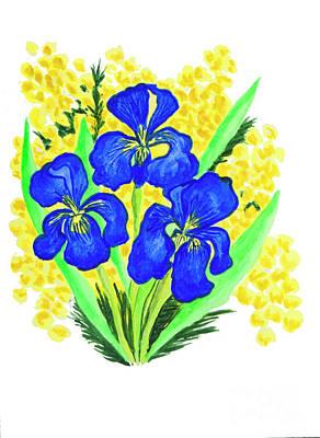 Blue Irises And Mimosa Art Print