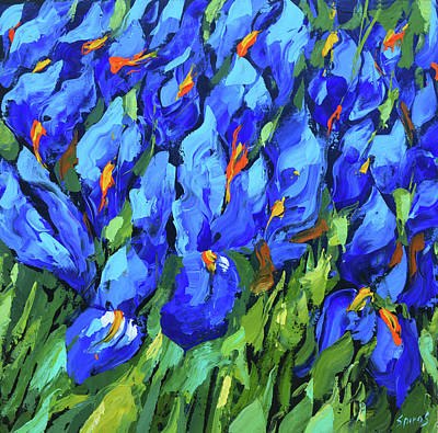 Painting - Blue Irises by Dmitry Spiros