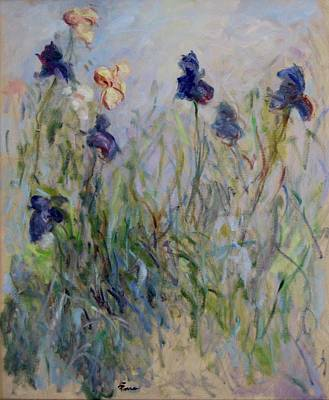 Blue Irises In The Field, Painted In The Open Air  Art Print