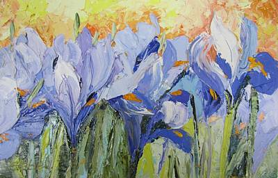 Blue Irises Palette Knife Painting Art Print by Chris Hobel