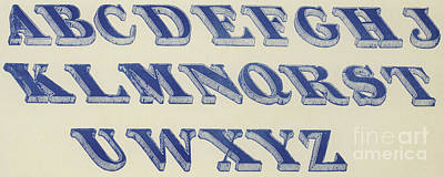 Blue Italian Shaded Font Art Print by English School