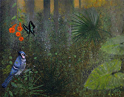 Painting - Blue Jay And Butterfly by Maury Hurt