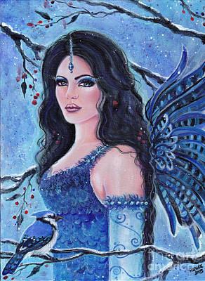 Blue Jay Fae Art Print by Renee Lavoie