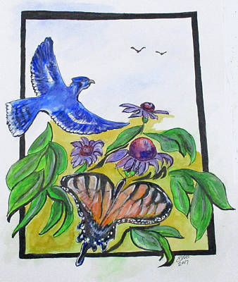 Painting - Blue Jay Fantasy by Clyde J Kell