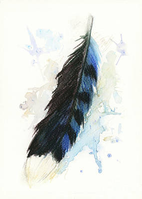 Painting - Blue Jay Feather Splash by Brandy Woods