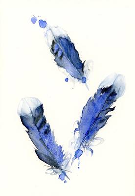 Painting - Blue Jay Feathers by Dawn Derman