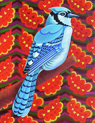 Birds Of A Feather Painting - Blue Jay by Jane Tattersfield