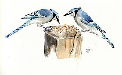 Blue Jay Lovebirds Original by Christine Camp