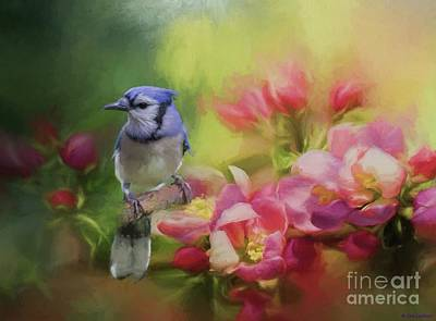 Blue Jay On A Blooming Tree Art Print by Eva Lechner