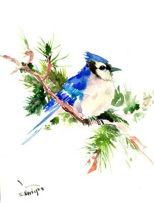 Blue Jay Digital Art - Blue Jay On Pine Tree by Suren Nersisyan
