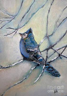 Scrub Jay Painting - Blue Jay  by Vesna Antic