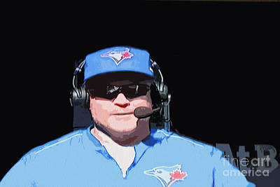 Digital Art - Blue Jays Baseball Coach John Gibbons by Nina Silver