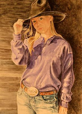 Blue Jean Cowgirl Art Print by Traci Goebel