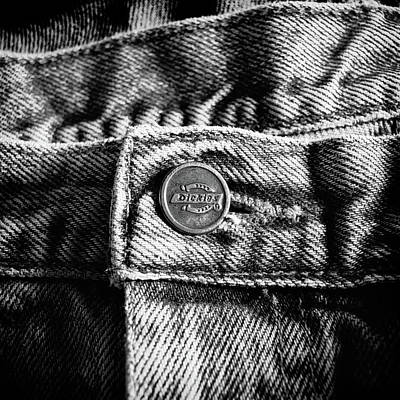 Photograph - Blue Jeans Button Macro Detail Bw by YoPedro