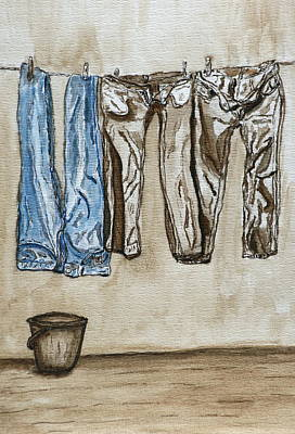 Blue Jeans. Art Print by Shlomo Zangilevitch