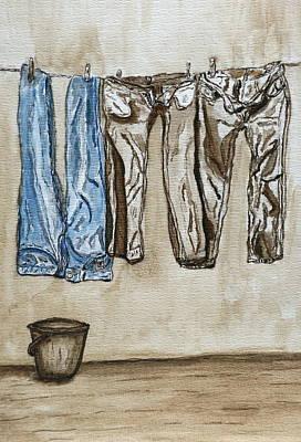 Watercolor Painting - Blue Jeans. by Shlomo Zangilevitch