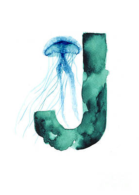 Nursery Mixed Media - Blue Jellyfish Watercolor Alphabet Poster by Joanna Szmerdt