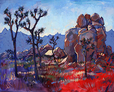 Cactus Painting - Blue Joshua Rock by Erin Hanson