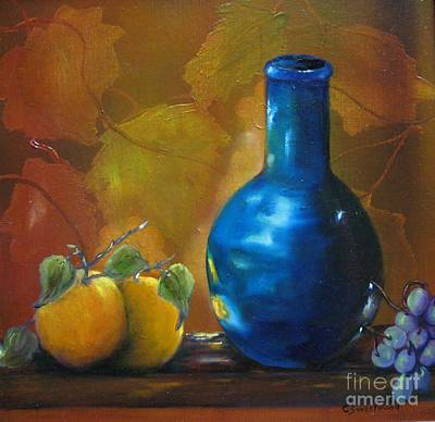 Painting - Blue Jug On The Shelf by Carol Sweetwood