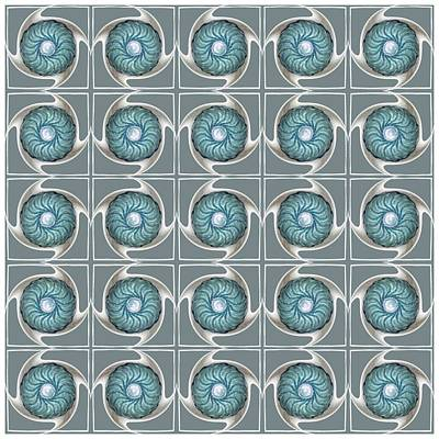 Digital Art - Blue Kaleidoscope Swirl by Ellen Barron O'Reilly