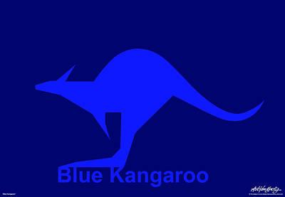 Blue Kangaroo Art Print by Asbjorn Lonvig