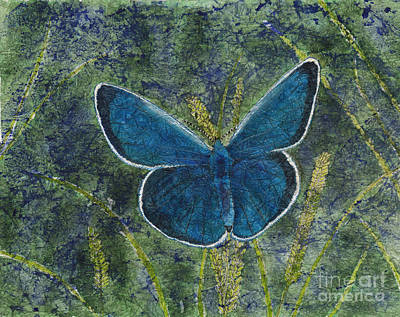 Painting - Blue Karner Butterfly Watercolor Batik by Conni Schaftenaar
