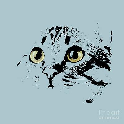 Blue Kitten Portrait Art Print