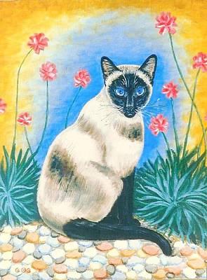 Blue Kitty Art Print by George I Perez