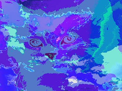 Art Print featuring the digital art Blue Kitty by Lola Connelly