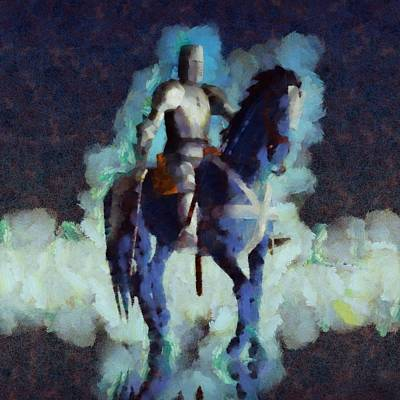 Fantasy Royalty-Free and Rights-Managed Images - Blue Knight by Esoterica Art Agency