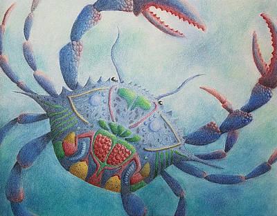Drawing - Blue Krab by Lynne Renzenberger