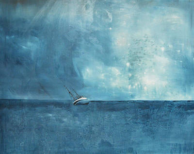 Modern Landscape Painting - Blue by Krista Bros