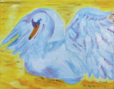 Painting - Blue Laced Swan by Meryl Goudey