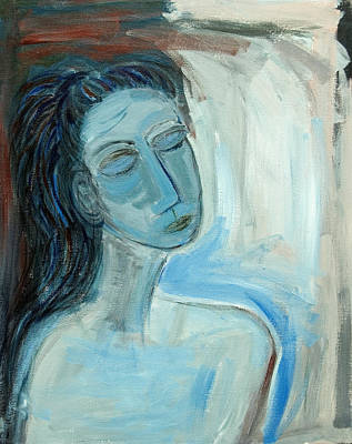 Blue Lady Abstract Art Print by Maggis Art