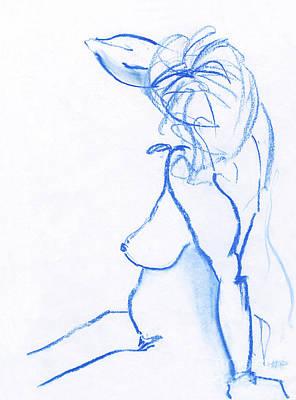 Drawing - Blue Lady by Kerryn Madsen-Pietsch